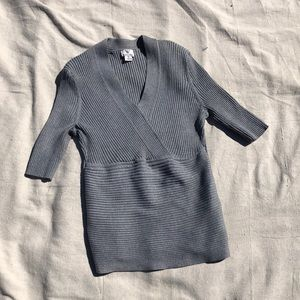 grey quarter sleeve wrap top